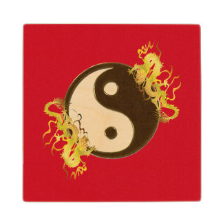 Golden Dragon Yin Yang Wood Coaster
