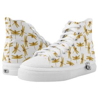 Golden Dragonflies High Top Sneakers