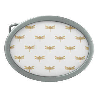 Golden Dragonfly Repeat Gold Metallic Foil Belt Buckles