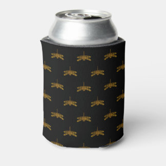 Golden Dragonfly Repeat Gold Metallic Foil Can Cooler