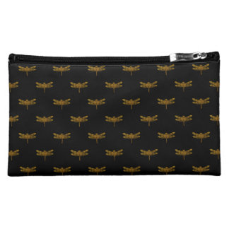 Golden Dragonfly Repeat Gold Metallic Foil Cosmetic Bag