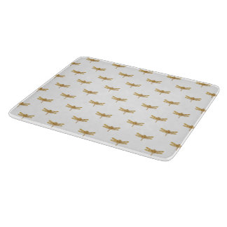 Golden Dragonfly Repeat Gold Metallic Foil Cutting Board