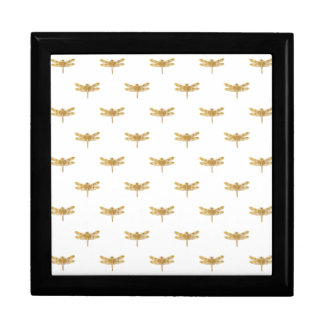 Golden Dragonfly Repeat Gold Metallic Foil Gift Box