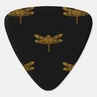 Golden Dragonfly Repeat Gold Metallic Foil Guitar Pick