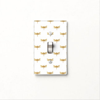Golden Dragonfly Repeat Gold Metallic Foil Light Switch Cover