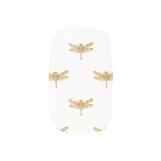 Golden Dragonfly Repeat Gold Metallic Foil Minx Nail Art
