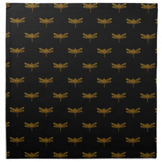 Golden Dragonfly Repeat Gold Metallic Foil Napkin