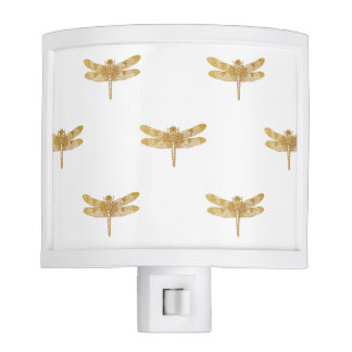 Golden Dragonfly Repeat Gold Metallic Foil Night Lights