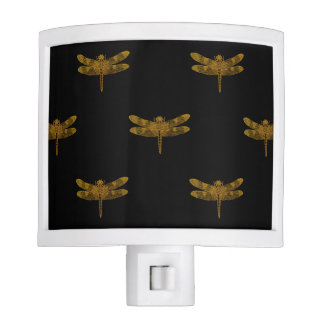 Golden Dragonfly Repeat Gold Metallic Foil Nite Lites