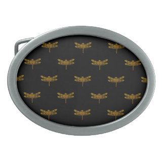 Golden Dragonfly Repeat Gold Metallic Foil Oval Belt Buckle
