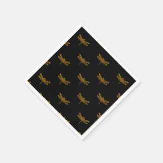 Golden Dragonfly Repeat Gold Metallic Foil Paper Napkin