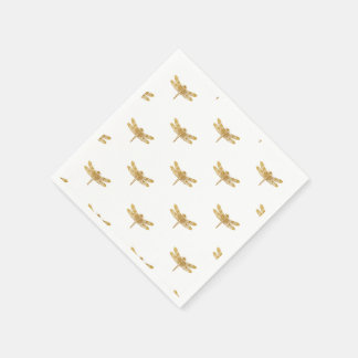 Golden Dragonfly Repeat Gold Metallic Foil Paper Napkins