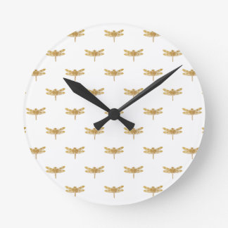 Golden Dragonfly Repeat Gold Metallic Foil Round Clock