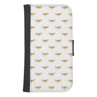 Golden Dragonfly Repeat Gold Metallic Foil Samsung S4 Wallet Case
