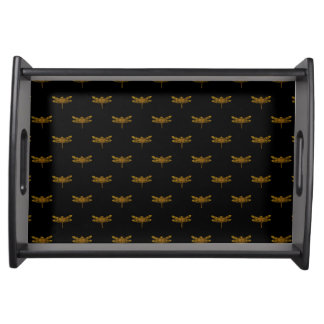 Golden Dragonfly Repeat Gold Metallic Foil Serving Tray
