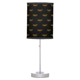 Golden Dragonfly Repeat Gold Metallic Foil Table Lamp
