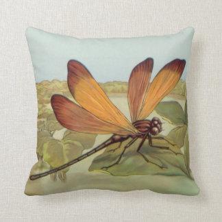 Golden Dragonfly Throw Pillow