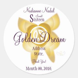 Golden Dream Sweet Sixteen Sticker- Customize Classic Round Sticker