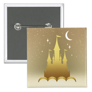 Golden Dreamy Castle In The Clouds Starry Moon Sky 2 Inch Square Button