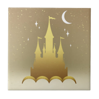 Golden Dreamy Castle In The Clouds Starry Moon Sky Ceramic Tile