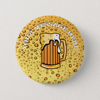Golden drops and beer glass 2 inch round button