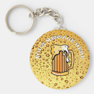 Golden drops and beer glass keychain
