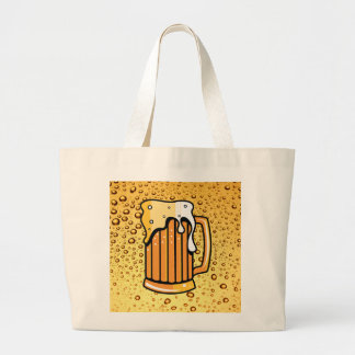 Golden drops and beer glass large tote bag