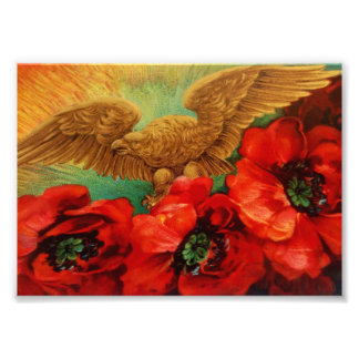 Golden Eagle and Poppies Vintage Photo