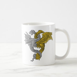 Golden eagle and silver dragon entwined coffee mug