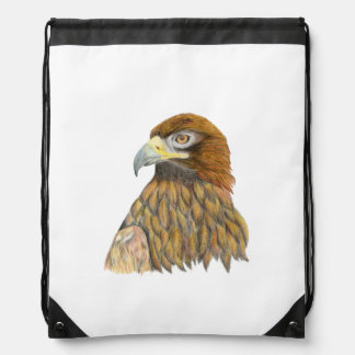 Golden Eagle Bird Watercolour Painting Artwork Drawstring Bag