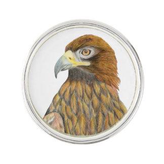 Golden Eagle Bird Watercolour Painting Artwork Lapel Pin