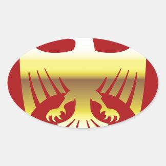 Golden Eagle on red background Vector Art Oval Sticker