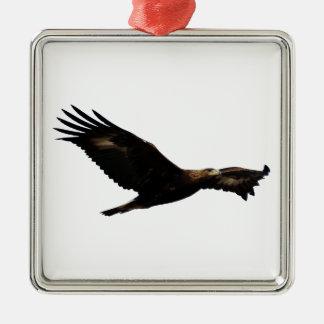 Golden Eagle Soaring Silver-Colored Square Ornament
