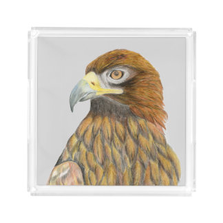 Golden Eagle Watercolour Painting Artwork Homeware Acrylic Tray