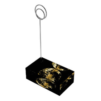 golden earth planet table card holder