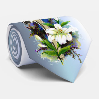 Golden Easter Cross and White Lilly Flowers Tie