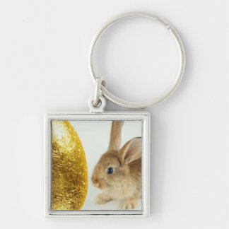 Golden Easter Egg and Bunnies Silver-Colored Square Keychain