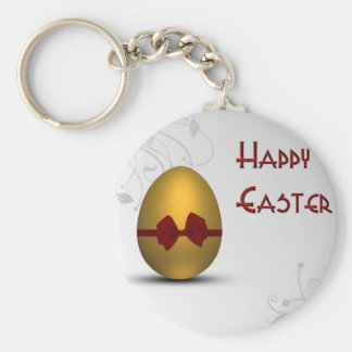 Golden Easter Egg  with Bow - Keychain