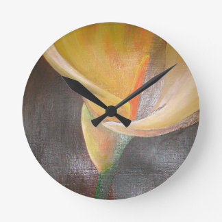 Golden Easter Lily Round Clock