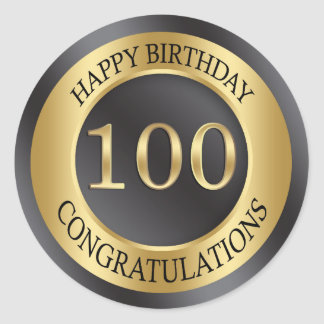 Golden effect 100th Birthday Classic Round Sticker