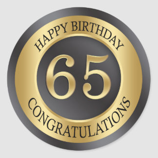 Golden effect 65th Birthday Classic Round Sticker