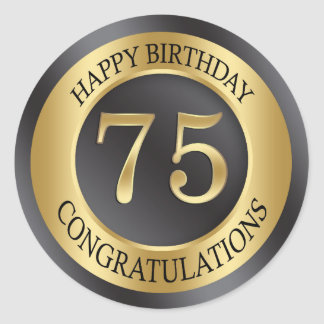 Golden effect 75th Birthday Classic Round Sticker