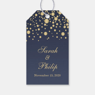 Golden effect confetti on blue Thank you Gift tag