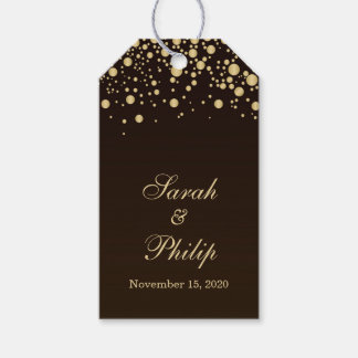Golden effect confetti on brown Thank you Gift tag