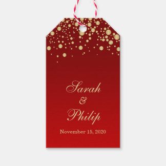Golden effect confetti on red Thank you Gift tag