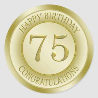 Golden effect Happy 75th Birthday Sticker