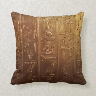 Golden Egyptian Hieroglyphics Throw Pillow