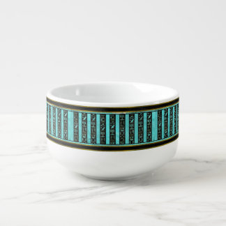 Golden  Egyptian hieroglyphs on frosted glass Soup Mug
