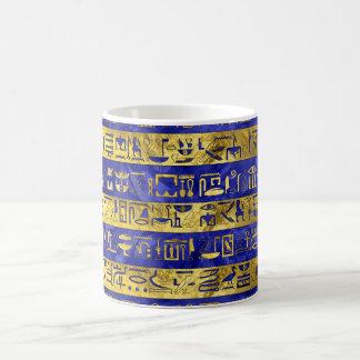 Golden Egyptian  hieroglyphs pattern blue stone Coffee Mug