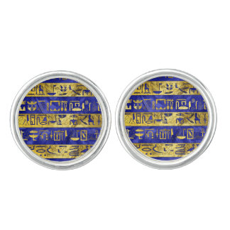Golden Egyptian  hieroglyphs pattern blue stone Cufflinks
